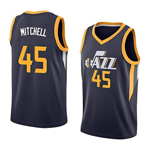 Utah Jazz Donovan Mitchell # 45 Trikot - Ärmelloses Set, Basketball für Männer und Unisex Basket Anzug T-Shirt Genähte Buchstaben Zahlen schwarz-M