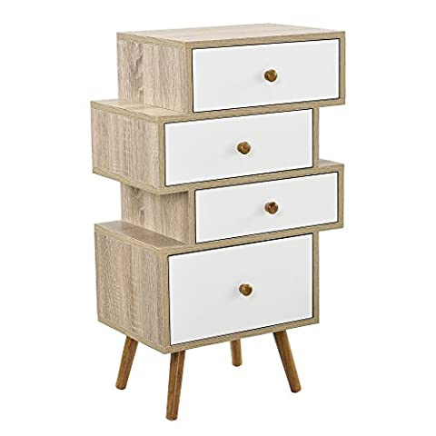 [en.casa]® Design Highboard Commode buffet armoire Blanc/Chêne table d'appoint