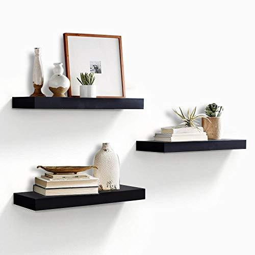Schwarzes Holz Regal (AHDECOR Wandregal Wandboards 3er Set Schwimmende Regal Holz für Wohnzimmer Schlafzimmer Büro oder Küche,Schwarz)