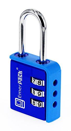 Preisvergleich Produktbild Kombinationsschloss, Zahlenschloss für Spinde/Vorhängeschloss mit langem Bügel/8 Farben/Zahlenschlösser für Fitnesscenter, Schulspinde, Sporttaschen, Gepäck oder Koffer/Hochbügel (Blau)