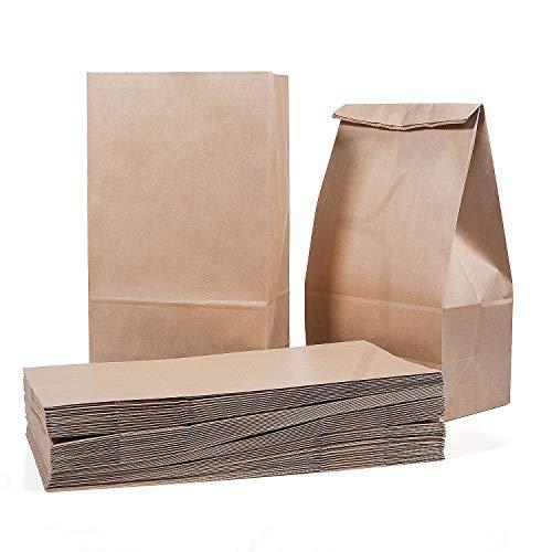 Vordas 50 Sacs en Papier Marron 28 x 15 x 8.5 cm - 70 g./m2, Sacs en Papier Kraft Pochette Cadeau, Idéal pour Emballage de Pain de Biscuits de Boulangerie de Pâtisserie de Bonbons et Noix