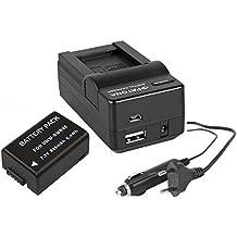 Juego de 2en 1para Panasonic Lumix FZ72/DMC de dmc-fz72eg-k | batería para Panasonic DMW-BMB9(+ 4in1Cargador (entre otros, con USB/Micro-USB y coche/Auto) Incluye PATONA displaypad