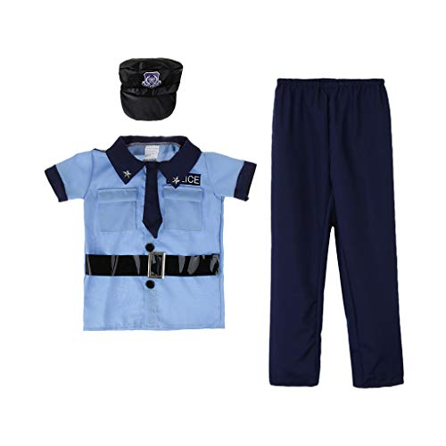 Fenteer Kinder Polizist Polizei Uniform Kostüm Holloween Cosplay Kostüm Verkleidung für Fasching Fasching Mottoparty - (Dress Up Wie Ein Baby Kostüm)