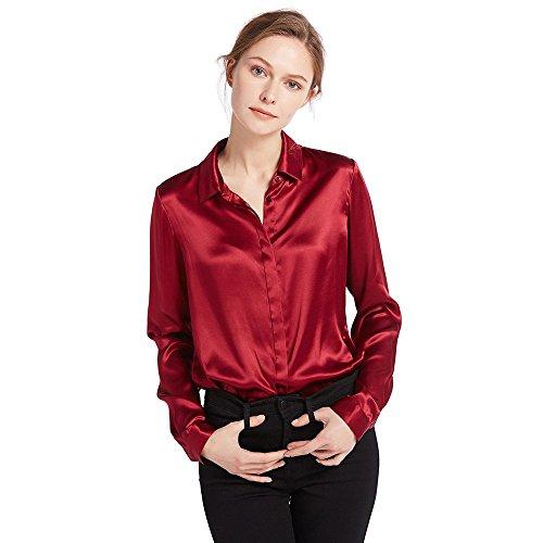 17cffa09da0233 LilySilk Women's Charmeuse Silk Blouse Long Sleeve Ladies Top Shirt 100%  Pure 22 Momme Silk