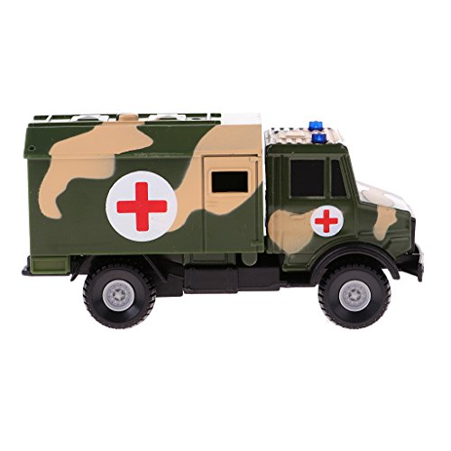 Baoblaze 1:64 Diecast Armee Panzer Krankenwagen Panzerwagen Hubschrauber Buggy LKW Fahrzeug Modell Kinder Spielzeug Geschenk - Krankenwagen