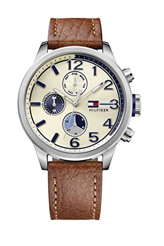 tommy-hilfiger-jackson-mens-quartz-watch-with-off-white-dial-analogue-display-and-brown-stainless-st