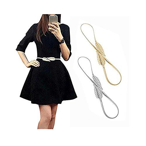 Famhome Vintage Gürtel elastischer Gürtel Stretch Taille Riemen Kummerbund Blatt Verschluss Stretch Taille Hüftgurt Große Silber & Golden Tone(Plus) (Plus Ton)