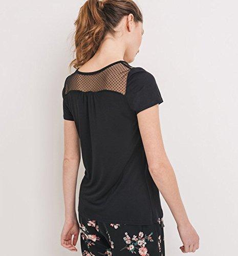 Promod T-shirt détail résille Femme Noir