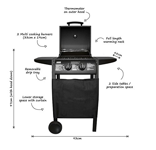 BENTLEY 2 BURNER GAS BBQ STEEL BARBECUE IN BLACK