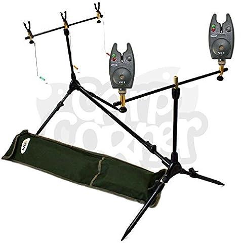 NGT Carp Fishing Rod Pod 2x Black Bite Alarms With Volume Control 3x Indicator Swingers & Rests