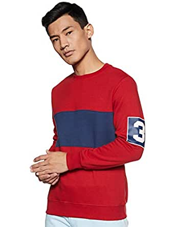 Amazon Brand - Symbol Men's Sweatshirt (AW18MNSSW08_Mineral Red Mel_XXL)