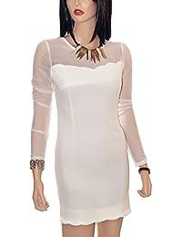 Slim Fit Illusion Neck Party Dress - White
