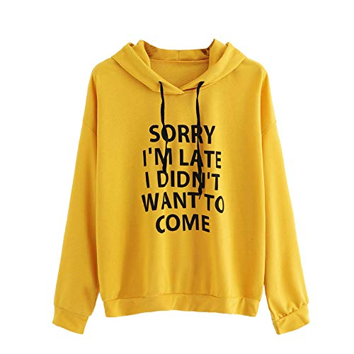 JUTOO Frauen Oansatz Hoodie Jumper Langarm Sweatshirt mit Print Print Pullover Tops(Gelb,Small)