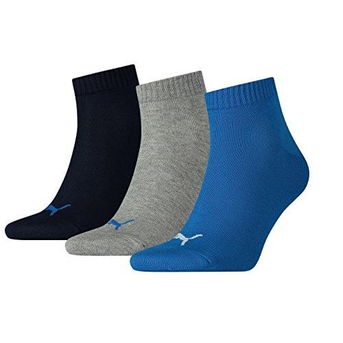 PUMA Unisex Quarters Socken Sportsocken 12er Pack (39/42, Blue/ Grey Mélange) - Rechts-links-socken