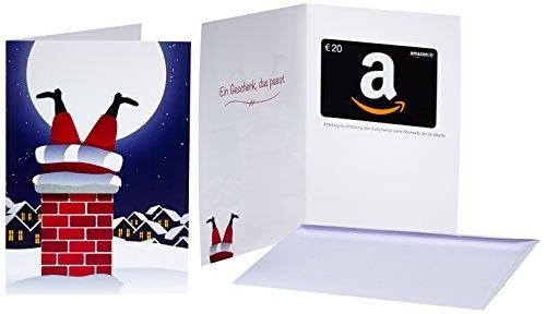 Amazon.de Geschenkkarte in Grußkarte - 20 EUR (Weihnachtsmann im Kamin)