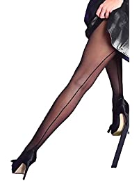 891adf912f2 Yummy Bee Silky Tights Seamed Sheer Back Seam Cuban Heel Lingerie Plus Size  8-18