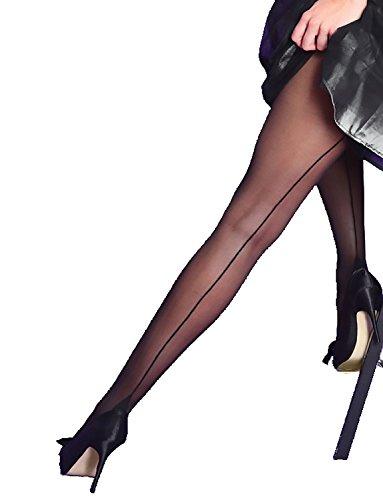 e Durchsichtig Mittelnaht Blockabsatz Silky Größe 36-48 (Schwarz, M) (Erwachsene Damen Kostüme Strümpfe)