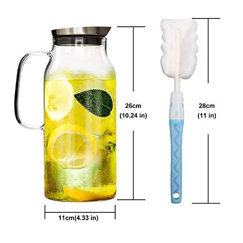 GOLDPOOL Wasserkaraffe 2 Liter Glaskaraffe - Borosilikatglas Wasserkrug mit Edelstahl Deckel Karaffe Glaskanne mit Einer Reinigungsbürste