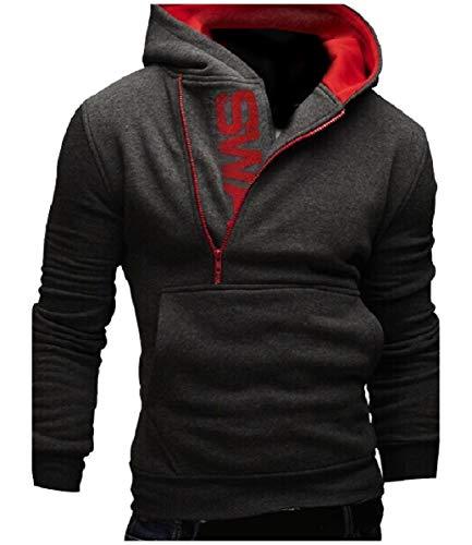 CuteRose Mens Pullover Side Zip Big Pockets Long Sleeve Hoodies Sweater Dark Grey 5XL Aeropostale Zip