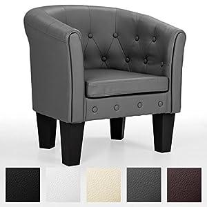 Homelux Chesterfield Sessel, aus pflegeleichtem Kunstleder und Holz, mit Rautenmuster, Farbwahl, Lounge Sessel, Clubsessel, Armsessel, Cocktailsessel, Wohnzimmer Möbel, Design-Polstermöbel, Komfort