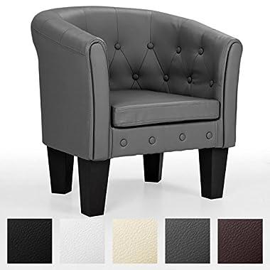 HomeLux Chesterfield Sessel, aus pflegeleichtem Kunstleder und Holz, mit Rautenmuster, Farbwahl, Lounge Sessel, Clubsessel, Armsessel, Cocktailsessel, Wohnzimmer Möbel, Design-Polstermöbel, BRAUN