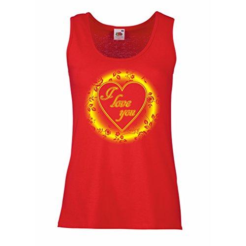 Femme Débardeur Sans manche Je t'aime - Saint-Valentin Rouge Multicolore