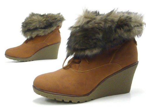 Schuh-City Robuste Damen Schuhe Stiefelette Kunst Fell Rand Braun