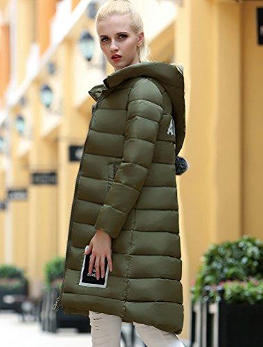 Vogstyle Damen Kapuzen Lange Daunenjacke Mantel EU 34-44 Grün