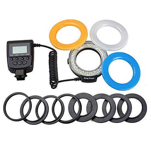 SDGDFXCHN Dimmbare 48 LED-Kamera-LED-Lichter für Kamera, tragbares Ring-Set schwarz Schwarz 49mm-77mm