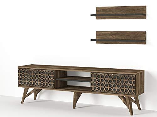 Alphamoebel 4685 Fina Wohnwand Anbauwand Schrankwand Mediawand, Walnuss, modern, 2 Hängeregale, Designer Stück für Wohnzimmer, viel Stauraum, 150 x 45,5 x 30 cm