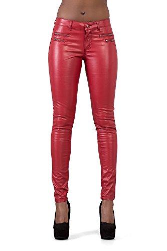Lusty Chic Hochwertige Damenhosen, Glatte Damen Hose, Frauen Kunstlederhose, PU Lederhose Jeans (38, PU Rot)