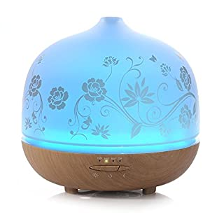 500ml Glass Aromatherapy Essential Oil Diffusers, ISELECTOR Ultrasonic Cool Mist Air Humidifier with 7 Changing LED Colors, Waterless Auto Shut-off