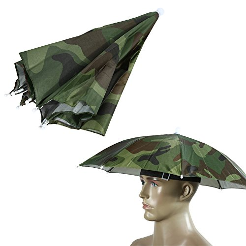 Demiawaking Sombrero Sombrilla Elástico Paraguas de Cabeza para Golf Pesca Campamento (Camuflaje)