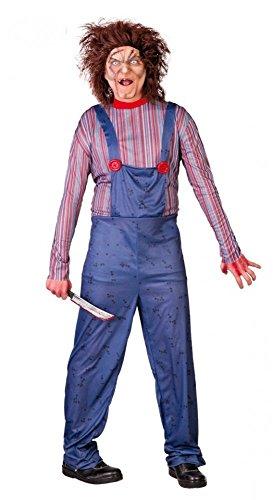 Chucky Mörderpuppe Herren-Kostüm Killer-Puppe Zombie Halloween Horror , Größe:L (Chucky Puppe Perücke)
