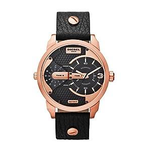 Diesel-DZ7317-Mini-Daddy-Reloj-Reloj-de-hombre-piel-pulsera-de-acero-inoxidable-30-m-Analog-Negro-Ros