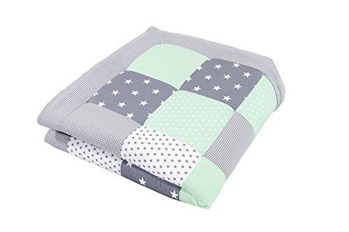 ULLENBOOM ® Baby Krabbeldecke Mint Grau (100x100 cm Baby Kuscheldecke, ideal als Laufgittereinlage, Spieldecke, Motiv: Punkte, Sterne)