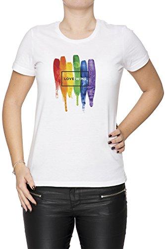866a7f84ec8ab1 Erido Watercolor LGBT Love Wins Rainbow Paint Typographic Donna Girocollo  T-Shirt Bianco Maniche Corte