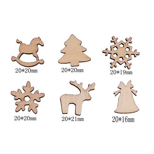 erd natur Holz Chip Rentier Schneeflocke Xmas Tree Decor zum Aufhängen, holz, einfarbig, Einheitsgröße (Fallen Klassenzimmer Dekorationen)