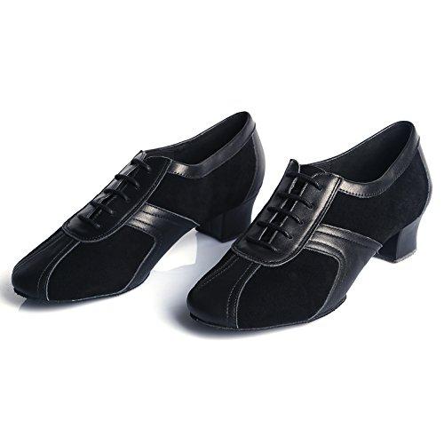 HIPPOSEUS Uomo Ballroom Scarpe da Ballo/Sala da Ballo Scarpe/Scarpe da Ballo Latino Standard di Leather,Modello-ITAF20 Nero-3
