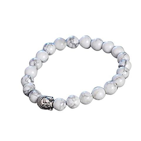 Oyedens Obsidienne Bracelet TêTe De Bouddha Bracelet En Argent Bracelets En Pierre De Lave De Perles, Blanc