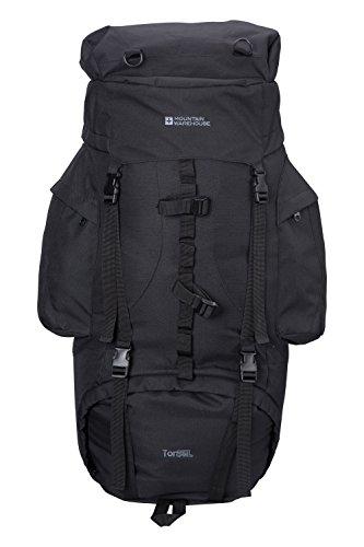 Mountain Warehouse Tor Rucksack - 85 Liter - Tagesrucksack mit Airmesh-Rücken, teilbares Fach, Brustgurt, Hüftgurt - Für ganzjähriges Reisen, Camping, Bergwandern, Frühling Schwarz -