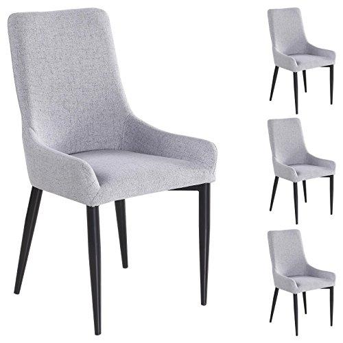 IDIMEX 4er Set Esszimmerstuhl Küchenstuhl Stuhlgruppe Essstuhl Stuhl Kylie Stoff grau