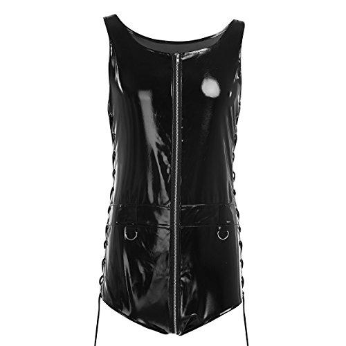 Freebily Herren Bodysuit Wetlook Schwarz Overall Lack Optik Clubwear Glänzend Kostüm Schwarz (Glänzenden Die Bodysuit Schwarzen)