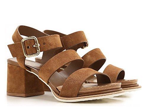 Tods Sandales à talons hauts en cuir veau velours marron - Code modèle: XXW19A0T610RE0S609 Cuir