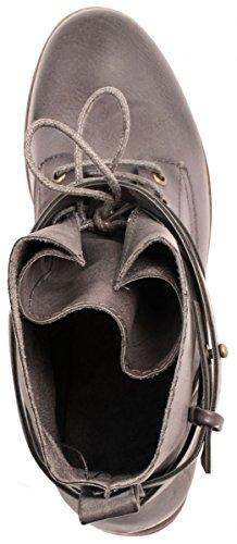 Elara Damen Stiefelette | Biker Boots | Trendy Lederoptik | Chunkyrayan Grau Orlando