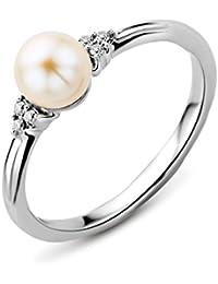 Miore - MT047R3 - Bague Femme - Or Blanc 375/1000 (9 carats) 1.54 gr - Diamant/Perles d'eau douce