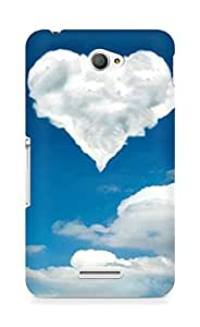 Amez designer printed 3d premium high quality back case cover for Sony Xperia E4 (cloud heart nature )
