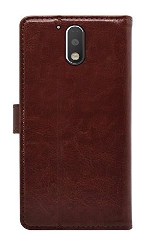 Febelo Premium Quality PU Leather Magnetic Video Stand View Wallet Flip Cover Case for Moto G Play 4th Generation / Moto G4 Play – Brown Color
