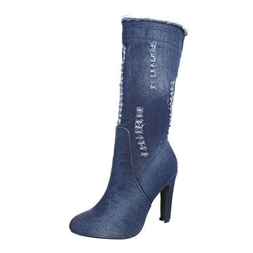 Scarpe da donna Stivali tacco a spillo Stivali col tacco Ital-Design Blau