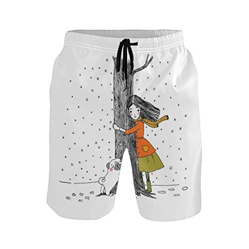 BHWYK Men's Summer ShortsYoung Furry Dog Tongue Out Monochrome Sketch Artwork,Size:XL -